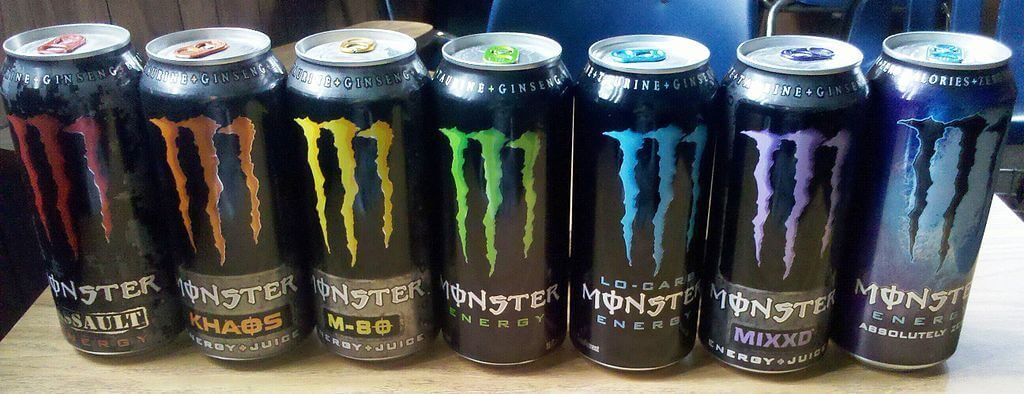 Monster Energy Drink logo on cans