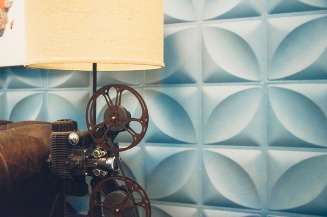 Beige and brown reel to reel table lamp